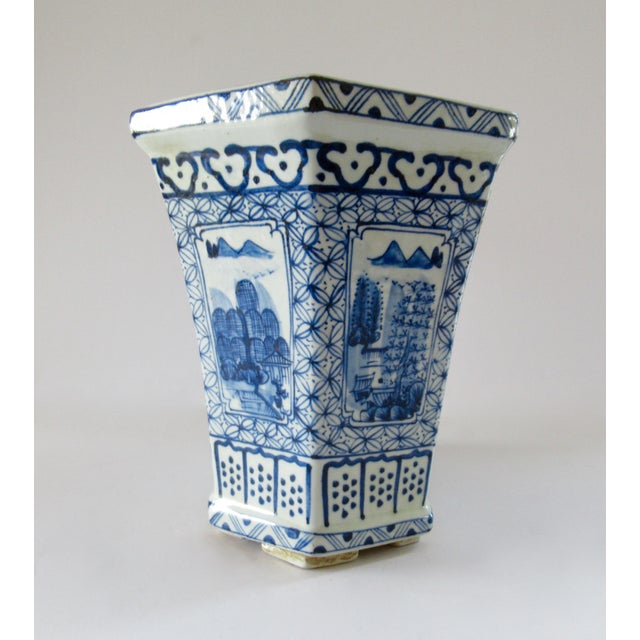 Asian Chinoiserie Blue & White Hexagonal Jardiniere For Sale - Image 3 of 13