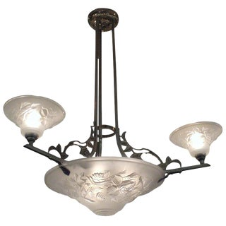 French Art Deco Frosted Art Glass Chandelier Signed Maynadier For Sale