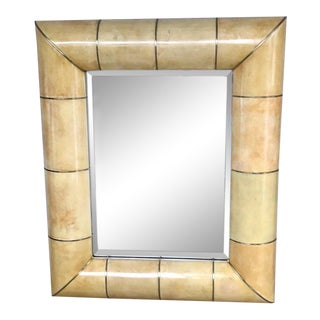 Large Modern Parchment and Brass Mirror For Sale