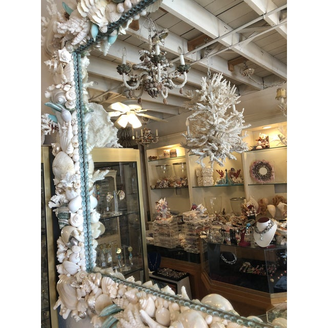 """Magnificent 48"""" by 58"""" horizontal wall Mirror done in pearly and matte whites with inner edging and touches of turquoise...."""