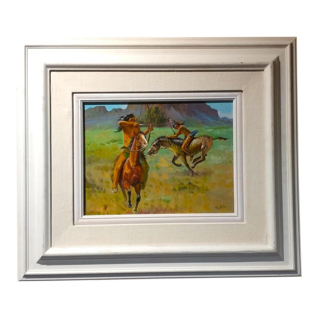 Native American Indians on Horse Oil Painting by Filastro Mottola For Sale