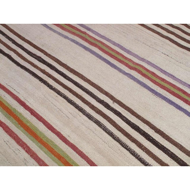 Banded Kilim Wide Runner For Sale In New York - Image 6 of 6
