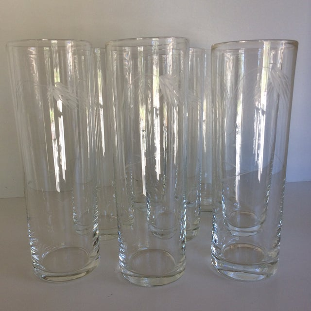 "1960s Noritaki Sasaki Etched Crystal"" Wheat"" Tom Collins Glasses - Set of 8 For Sale - Image 5 of 11"