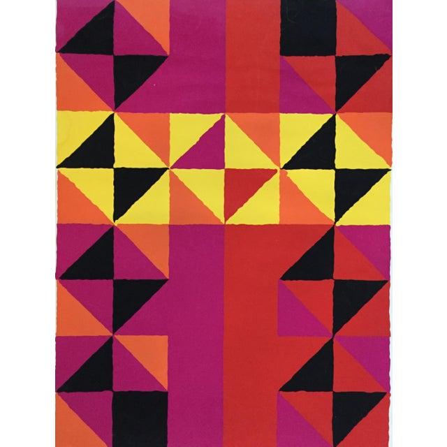 "1960s Op-Art Sidney Budnick Silkscreen ""Forest Fire"" For Sale - Image 4 of 10"