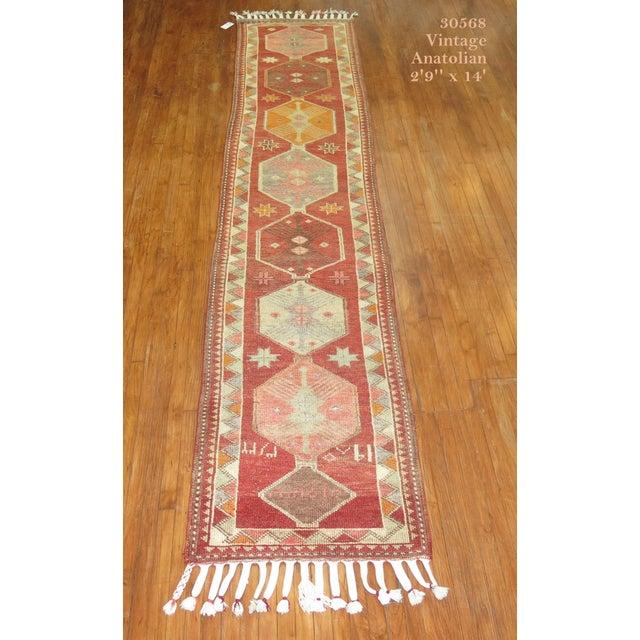 Islamic Vintage Anatolian Geometric Runner - 2'9'' x 14' For Sale - Image 3 of 8