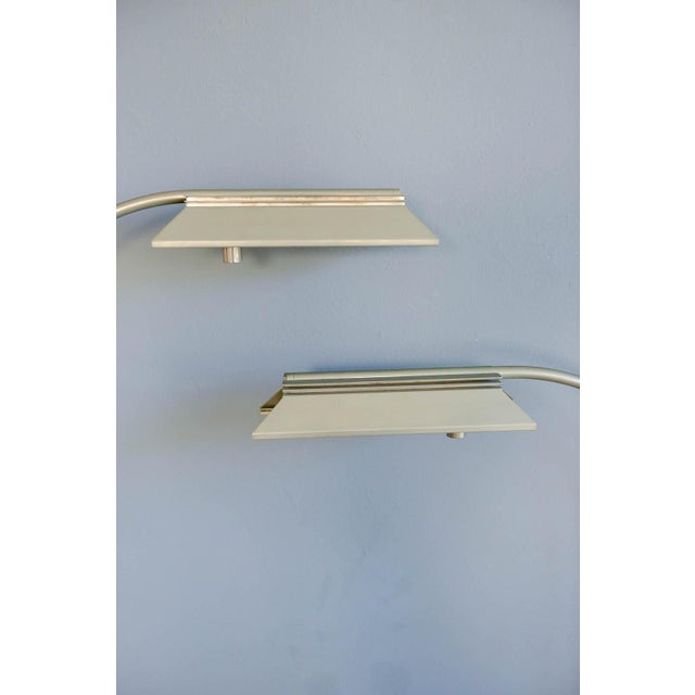 1970s Casella Brushed Nickel Adjustable Dimmable Floor Lamps - a Pair - Image 5 of 9