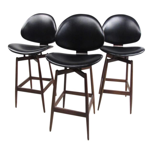 Mid-Century Modern Clamshell Bar Stools - Set of 3 For Sale