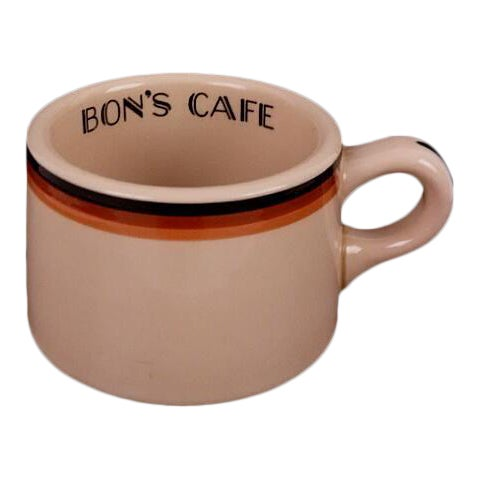 "Art Deco Shenango Inca Ware ""Bon's Cafe"" Diner Coffee Mug For Sale"