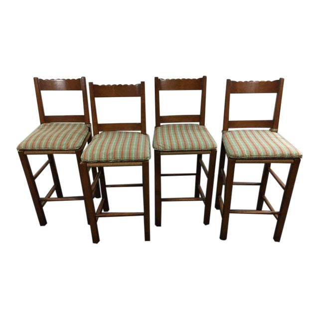 Carved Wood Rush Seat Bar Stools - Set of 4 - Image 1 of 5