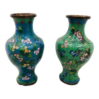 Pair Antique Champlieve Cloisonné Vases For Sale
