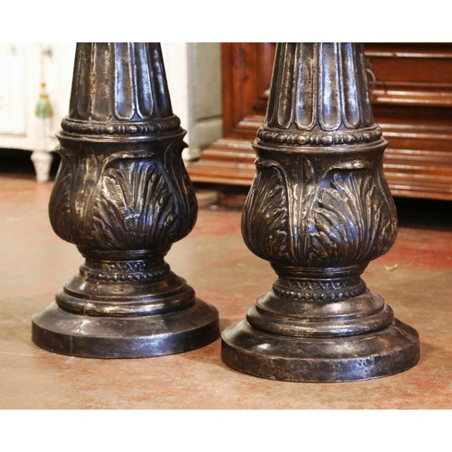 19th Century French Polished Iron Pedestals Attributed to j.j. Ducel - a Pair For Sale - Image 4 of 13