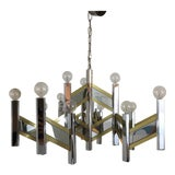 Image of Sciolari Brass and Chrome 15 Bulb Chandelier For Sale