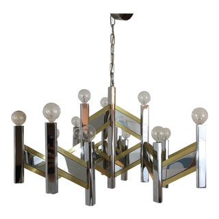 Sciolari Brass and Chrome 15 Bulb Chandelier For Sale