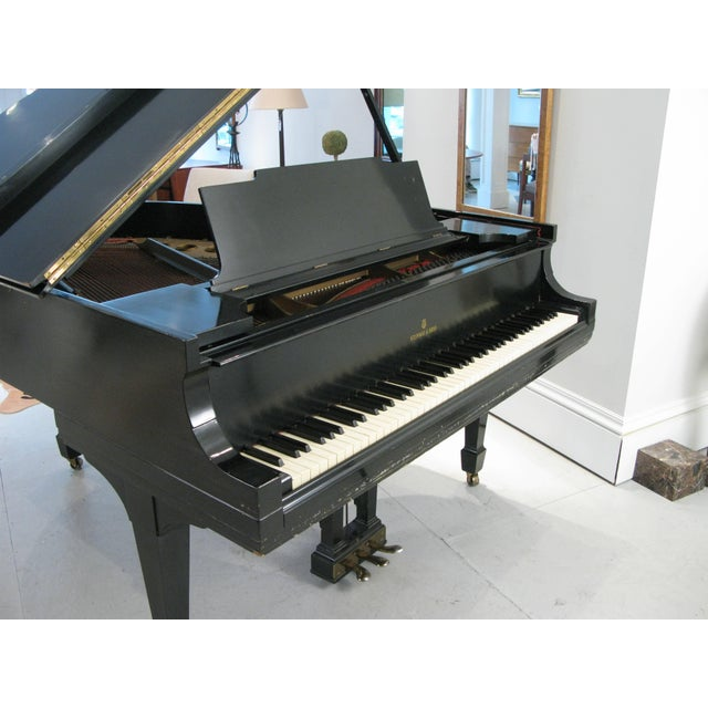 Black Steinway & Sons 1912 Model M Ebony Piano For Sale - Image 8 of 12