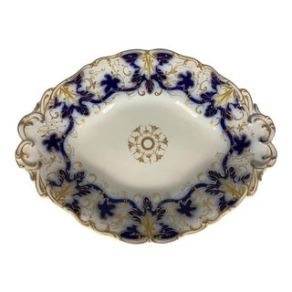Antique Blue Gold Hand Painted Davenport Staffordshire Footed Dish For Sale