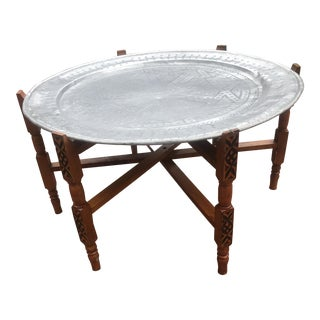 20th Century Moroccan Carved Tray Table For Sale