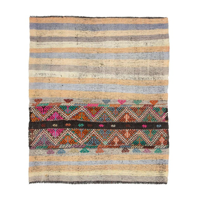Textile Vintage Turkish Small Kilim Rug For Sale - Image 7 of 7