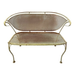 1950s Vintage Russell Woodard CastIron Mesh Outdoor Bench For Sale
