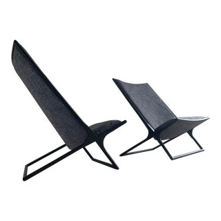 Ward Bennett for Brickel Associates Scissor Chairs, a Pair For Sale