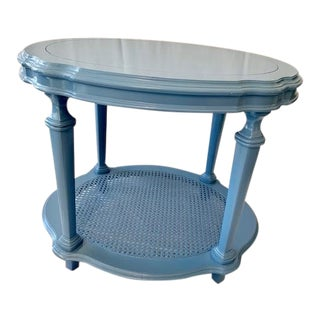 1960s Traditional Cornflower Blue Side Table With Caning For Sale