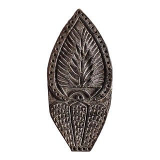 Decorative Indian Carved Wood Hand Block Print Fabric Stamp For Sale