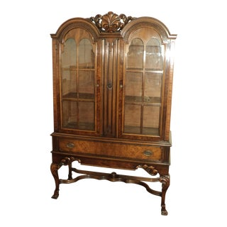 Walnut China Cabinet by Tell City Furniture For Sale