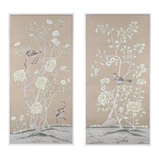 "Jardins en Fleur ""Donnington"" Chinoiserie Painting on Silk by Simon Paul Scott - a Pair For Sale"