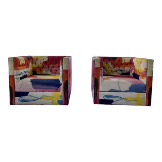 21st Century Vintage Custom Kelly O'Neal Swivel Club Chairs- A Pair For Sale