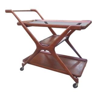 1960s Mid Century Modern Sculptural Walnut Bar Cart For Sale