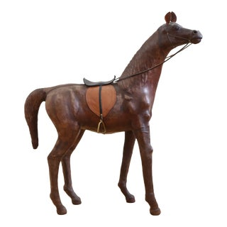 Oversized Vintage Decorative Leather Horse