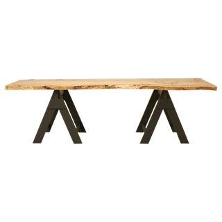 French Burl Elm Slab Dining Table, or Desk For Sale