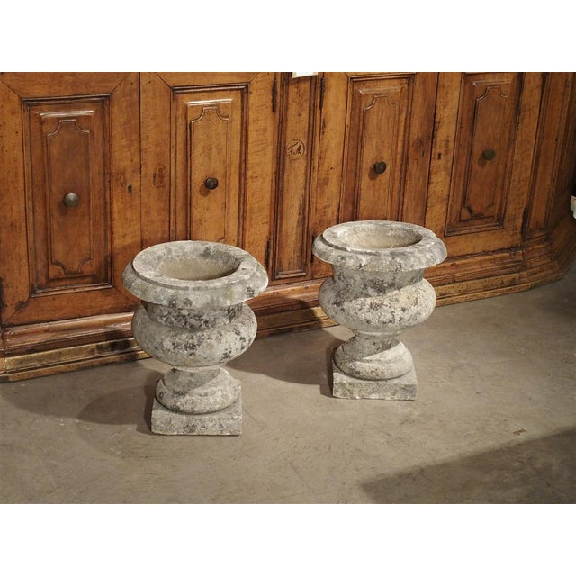 French Pair of Antique Carved Stone Garden Vases From Bordeaux France, 19th Century For Sale - Image 3 of 12