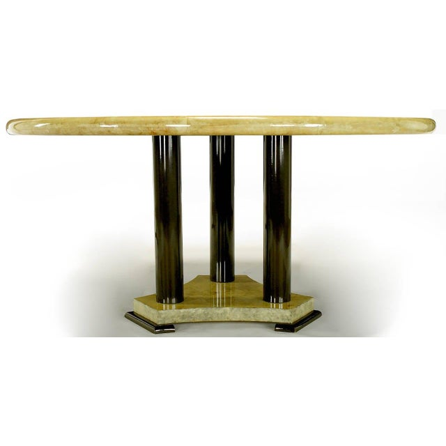 Empire Dining Table with Sunburst Goatskin Top and Chocolate Lacquer Base For Sale - Image 4 of 9