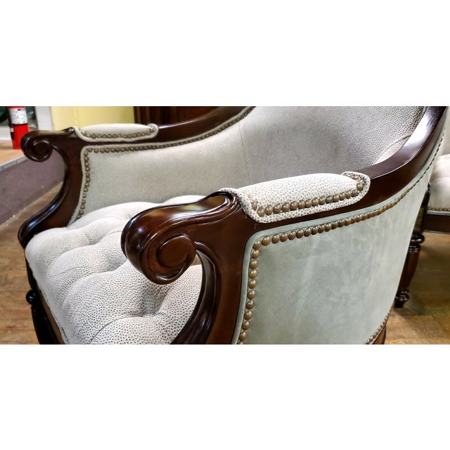 Wood Thomasville Furniture Ernest Hemingway Anson Tufted & Leather Accent Chair For Sale - Image 7 of 13
