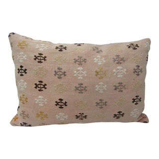 Embroidered Vintage Kilim Pillow For Sale