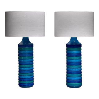 Aldo Londi Pair of Large Ceramic Table Lamps for Bitossi, Italy, 1960s For Sale