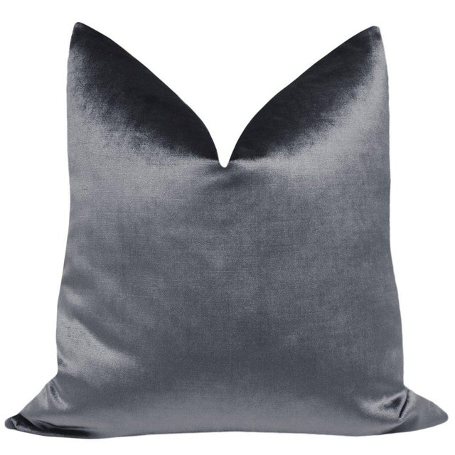 Pair of beautiful custom-made designer pillows , with the look and feel of silk velvet, in a warm shade of gray....