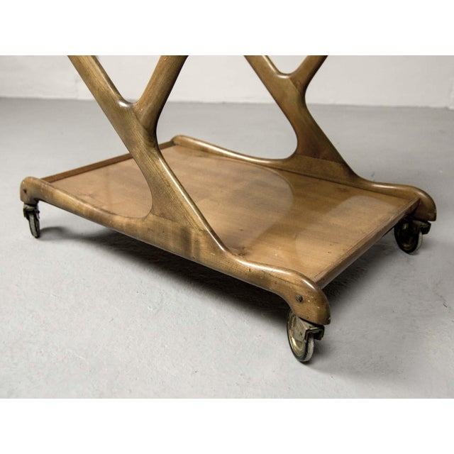 Mid-Century Italian Design Walnut Bar Trolley by Cesare Lacca for Cassina, 1950s For Sale - Image 10 of 11