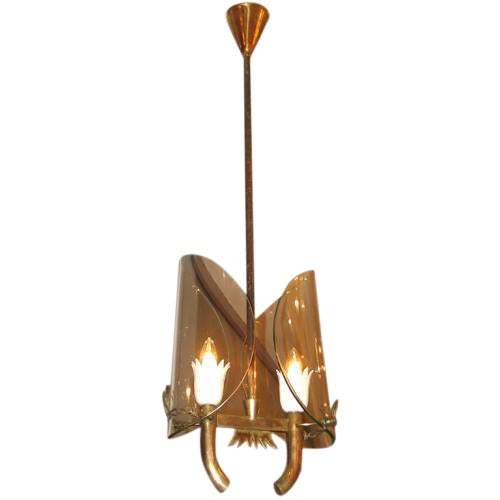 Fontana Arte Two Light Chandelier by P. Chiesa For Sale