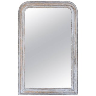 Late 19th Century Neoclassical Louis Philippe Distressed Grey Wood Mirror