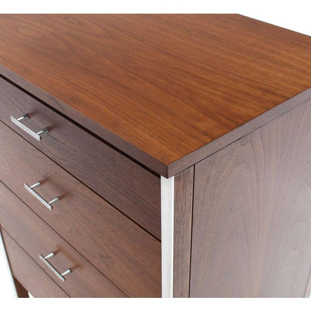 Mid 20th Century Four Drawers Small Petit Narrow Bachelor Chest For Sale - Image 5 of 10