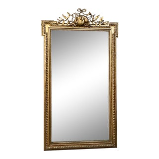 19th Century French Louis XVI Style Gilded Mirror For Sale