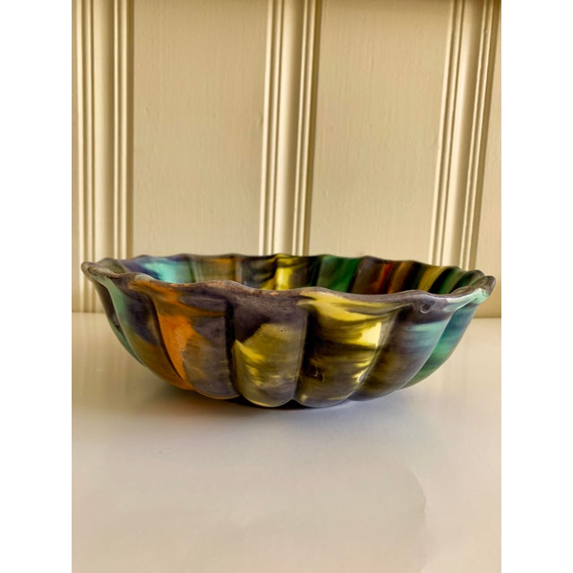 Ceramic Groovy Handmade Pottery Vintage Bowl For Sale - Image 7 of 13