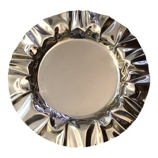 """Vintage Michael Aram Signed Polished Stainless Steel Tray 18"""" For Sale"""