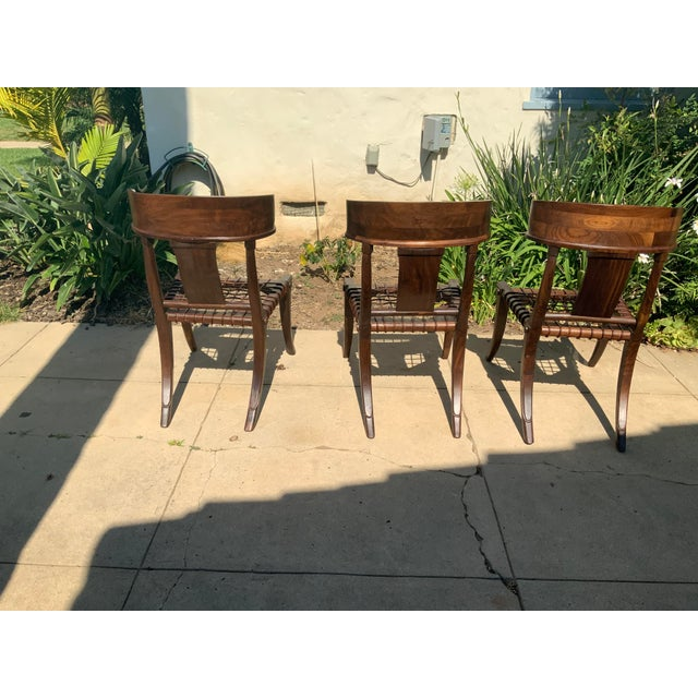 Klismos Walnut Chairs - Set of 3 For Sale In San Diego - Image 6 of 9