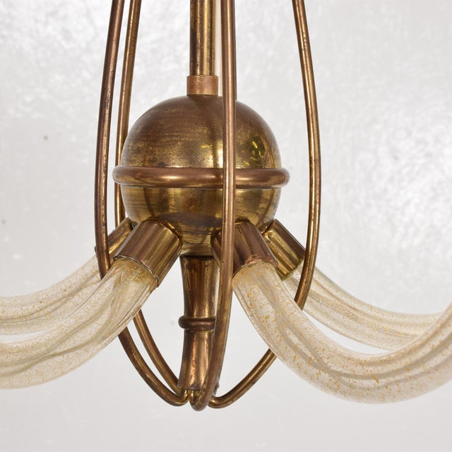 Mid-Century Modern Mid Century Sculptural Modern Italian Murano Chandelier Five Arms For Sale - Image 3 of 11