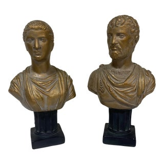 Vintage Neoclassical Chalk Ware Gold Leaf Busts - a Pair For Sale