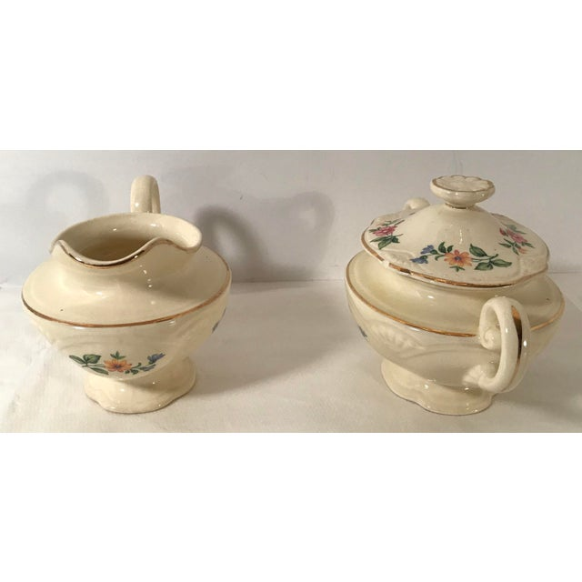 Shabby Chic Homer Laughlin Floral Creamer and Sugar Bowl For Sale - Image 3 of 11