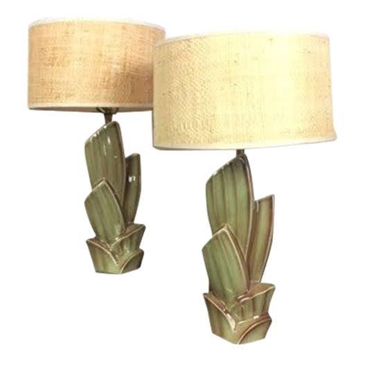 Vintage Cactus Lamps With Woven Grass Lamp Shades - Set of 2 For Sale - Image 4 of 4