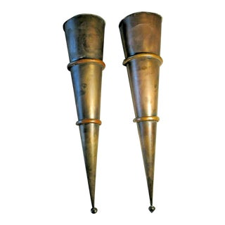 1950s Moroccan Brass and Copper Cone Lanterns-a Pair For Sale